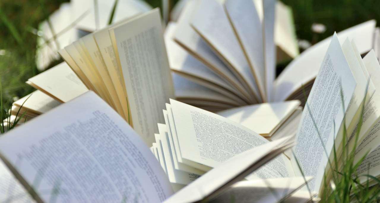 Böcker som ligger uppslagna på en gräsmatta.